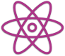 Icon for atom nucleus plus electron trajectories