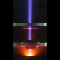 Photo of ion beam generated by single cavity ECR source