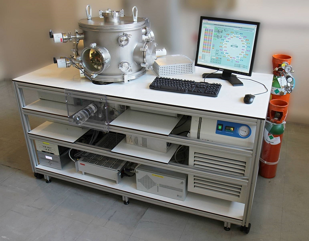 Photo of Ø 400 mm Ion Beam Deposition System with 20 ion sources, for samples up to Ø 300mm