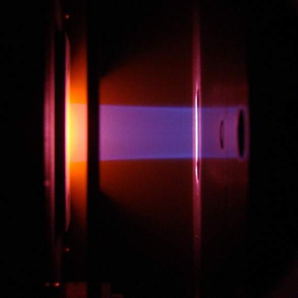 Photo of ion beam (generated from air) from a 4x20mm slit