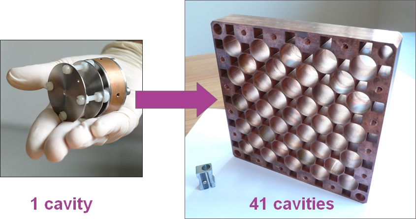 A photo showing a single cavity source held in a hand, with an arrow pointing at a photo showing an array of 41 cavities