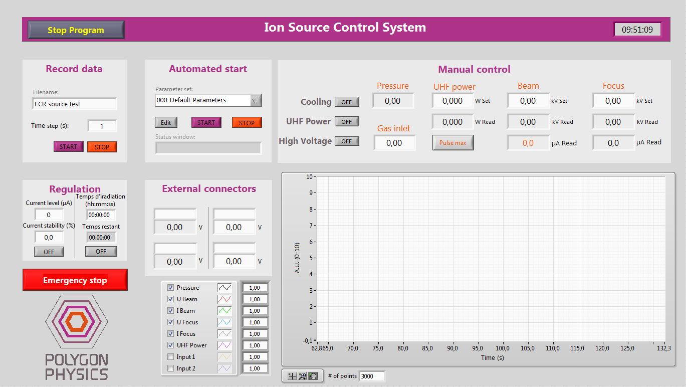 Screenshot of the user interface of the ion source control system for TES